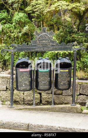 Recycling garbage bins in Aguas calientes,Cusco, Peru - Stock Photo