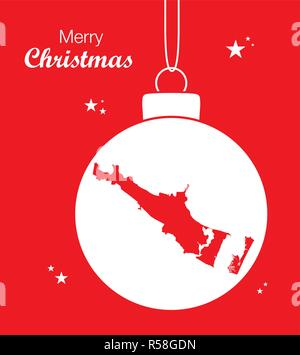 Merry Christmas illustration theme with map of Corpus Christi Texas - Stock Photo