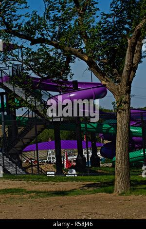 Water Slide at the City of Canyon Public Aqua Park and Swimming Pool. - Stock Photo