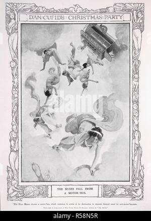 Dan Cupid's christmas party. The Muses fall from a motor-bus. Photograph of Miss Sylvia Storey, by Bassano. Sylvia Lillian Storey (1890-1947), musical comedy actresses. The Sketch. London, 1906. Source: The Sketch, December 1906, page 36. - Stock Photo
