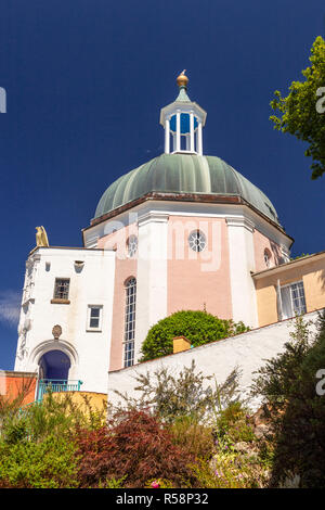 Italian style building with dome at Portmeirion, Wales - Stock Photo