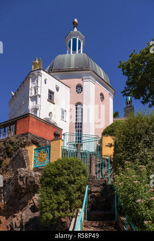 Italian style building at Portmeirion, Wales - Stock Photo