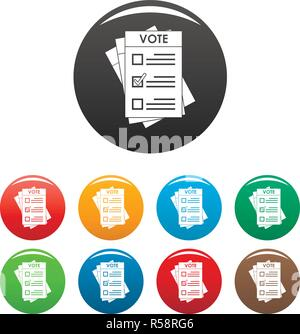 Election paper icons set 9 color vector isolated on white for any design - Stock Photo