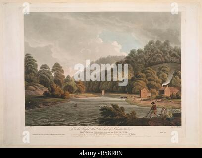 Figures fishing in the foreground; a rowing boat on the River Wye; a sailing boat and two moored boats in the middle ground; a cottage with a smoking chimney to the right; trees in the distance. To the Right Honble the Earl of Ilchester &c &c This VIEW at REDBROOK on the RIVER WYE : is most respectfully inscribed by his Lordships obedient and obliged servant F. Jukes. London : Pubd Octr 1st 1802 by F. Jukes No10 Howland Street, Fitzroy Square, [October 1 1802]. Source: Maps K.Top.13.94. Language: English. Author: Jukes, F. Dayes, E. - Stock Photo