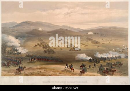Charge of the Light Brigade. The Seat of War in the East ( Lithographed plates,. P & D Colnaghi & Co., London, 1855, 1856. Charge of the Light Cavalry Brigade. The Battle of Balaclava. 25th October 1854. Image taken from The Seat of War in the East ( Lithographed plates, illustrating the Crimean War. ). Source: 1780.c.6, XV. Language: English. Author: SIMPSON, WILLIAM. WALKER E. - Stock Photo