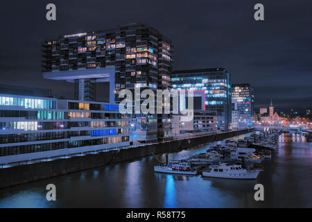 Nocturnal mood in Cologne Inner Harbor, Cologne, North Rhine Westphalia, Germany - Stock Photo