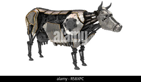 mechanical robot cow in stiunk style on an isolated white background. 3d illustration - Stock Photo