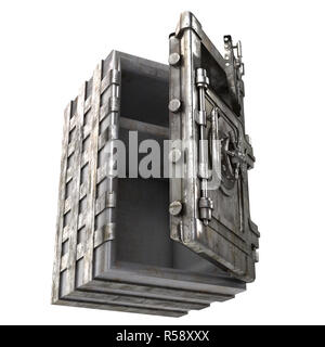 large iron open safe with two doors on an isolated white background. 3d illustration - Stock Photo