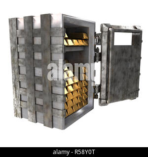 Old open safe with gold bars on an isolated white background. 3d illustration - Stock Photo
