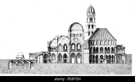 Digital improved reproduction, Church of the Holy Sepulchre at Jerusalem, Die Kirche des heiligen Grabes oder Grabeskirche in Jerusalem, 15th century, original print from th 19th century - Stock Photo
