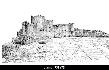 Digital improved reproduction, ruins of Margat, also known as Marqab from the Arabic Qalaat al-Marqab, a castle near Baniyas, Syria, which was a Crusader fortress, Burg Margat, Markab, eine Burgruine in Syrien, Kreuzfahrerfestung, Hospitaliterschloß, original print from th 19th century - Stock Photo