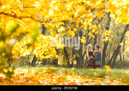 Image from back of loving couple sitting on grass in autumn forest among trees - Stock Photo