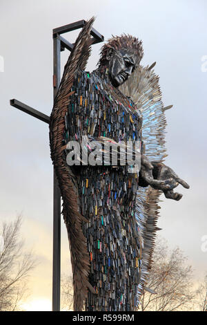 Liverpool, UK. 30 November 2018. 'The Knife Angel' is a 27 feet high sculpture composed of knives by the artist Alfie Bradley as a national monument against violence and aggression. It has been installed out Liverpool Cathedral and will remain in place until 31st January 2019. A memorial to those whose lives have been affected by knife crime, Alfie has designed and created the artwork single-handedly at the British Ironworks Centre. Credit: Premos/Alamy Live News - Stock Photo
