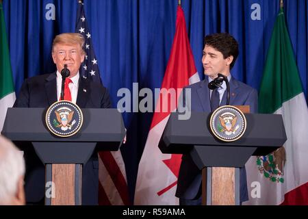 U.S. President Donald Trump, left, and Canadian Prime Minister Justin Trudeau during a press conference following the signing of the new NAFTA trade agreement called USMCA November 30, 2018 in Buenos Aires, Argentina. - Stock Photo