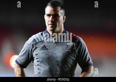 London, UK. 30th Nov, 2018. Dave Ward of Harlequins during Gallagher Premiership match between Harlequins and Exeter Chiefs at Twickenham Stoop on Friday, 30 November 2018. LONDON ENGLAND. (Editorial use only, license required for commercial use. No use in betting, games or a single club/league/player publications.) Credit: Taka G Wu/Alamy News - Stock Photo