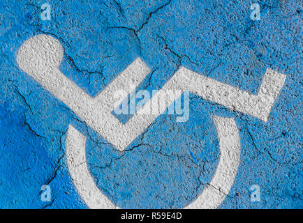 Handicapped parking sign on floor - Stock Photo