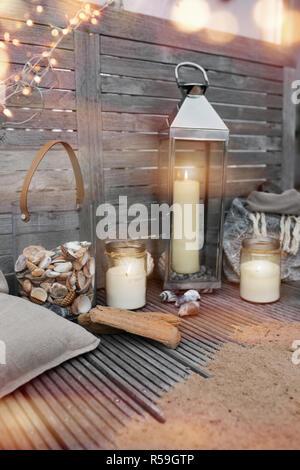 maritime decoration on wood - Stock Photo