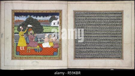 Guru Nanak, the founder of the Sikh religion, in dispute with Hindu holymen. Rani Jindan's book. Lahore, 1828-1830. This manuscript consists of three compositions from the Adi Granth, one by Guru Nanak and the other two by Guru Arjan. Source: Mss.Panj.D.4, ff.2-3. Language: Panjabi. - Stock Photo