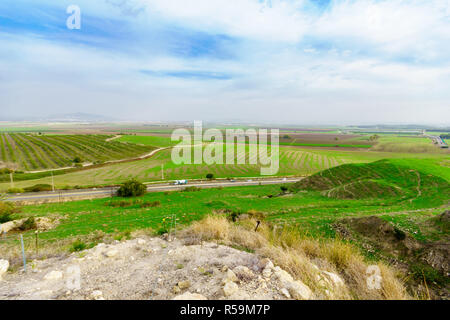 Landscape of the Jezreel Valley viewed from Megiddo. Northern Israel - Stock Photo