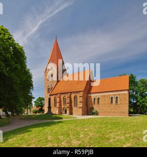 view of st. mary's church in klütz,northwest mecklenburg,northern germany - Stock Photo