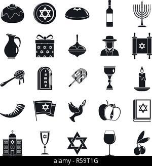 Hanukkah menorah icon set. Simple set of hanukkah menorah vector icons for web design on white background - Stock Photo