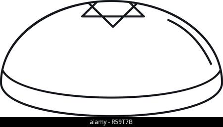 Kippah icon. Outline kippah vector icon for web design isolated on white background - Stock Photo