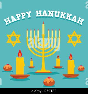 Happy hanukkah candles concept background. Flat illustration of happy hanukkah candles vector concept background for web design - Stock Photo