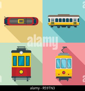 Tram icon set. Flat set of tram vector icons for web design - Stock Photo