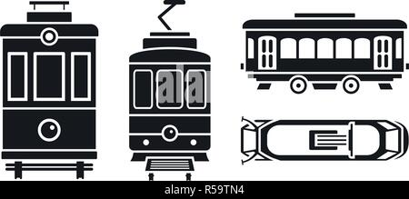 Tram car icon set. Simple set of tram car vector icons for web design on white background - Stock Photo