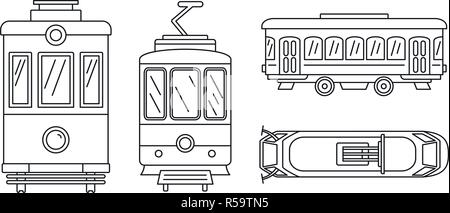 Tramway icon set. Outline set of tramway vector icons for web design isolated on white background - Stock Photo