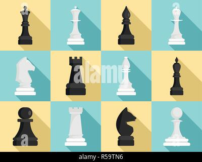 Chess icon set. Flat set of chess vector icons for web design - Stock Photo