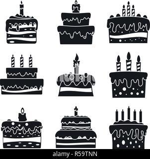 Cream cake birthday icon set. Simple set of cream cake birthday vector icons for web design on white background - Stock Photo