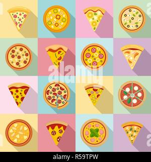 Pizza icon set. Flat set of pizza vector icons for web design - Stock Photo