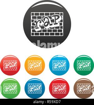 Rap bricks wall icons set 9 color vector isolated on white for any design - Stock Photo