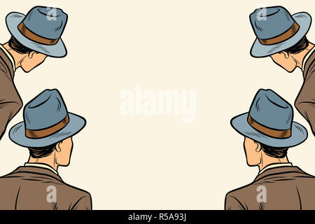 four men spectators look on a neutral copy space background - Stock Photo