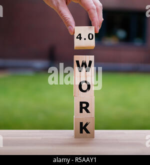Cubes form the word 'WORK 4.0' - Stock Photo