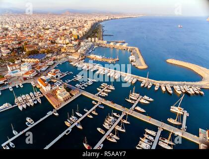 Aerial view of Limassol Marina, Cyprus - Stock Photo