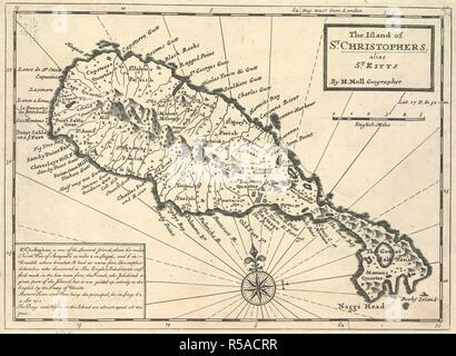 A map of the Island of St. Christophers alias Saint Kitts. The Island of St. Christophers alias Saint Kitts. [London], [1710]. Source: Maps K.Top.123.78. Language: English. Author: MOLL, HERMAN. - Stock Photo