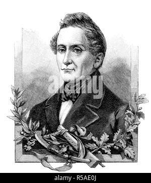 Joseph Freiherr von Eichendorff, 10 March 1788, 26 November 1857, was a Prussian poet, novelist, playwright, literary critic - Stock Photo