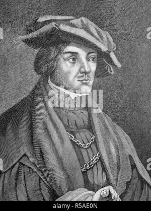 Ulrich von Hutten, 21 April 1488, 29 August 1523, was a German scholar, poet, satirist and reformer, woodcut from the year 1888 - Stock Photo