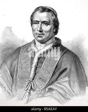 Pius IX, May 13, 1792, February 7, 1878, Pope from 1846 to 1878, woodcut, Italy - Stock Photo