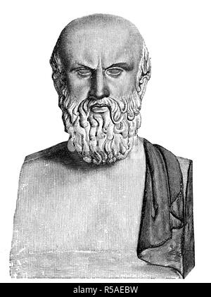 Bust of Aeschylus, 525 BC, 456 BC, poet of Greek tragedy, woodcut, Greece - Stock Photo