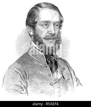 Louis Kossuth, 19 September 1802, 20 March 1894, woodcut, Hungary - Stock Photo