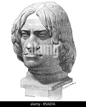 Terracotta bust of Lorenzo de Medici, il Magnifico, January 1, 1449, April 8, 1492, woodcut, Italy - Stock Photo