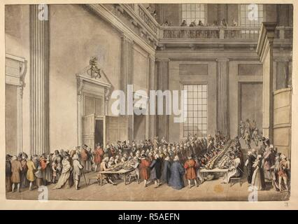 The Maundy Service in the Banqueting House, Whitehall. Interior of a neo-classical chapel; men and women sat at long tables, feasting from plates of food; fluted pilasters stretching up to a balcony on which figures stand. A coloured view of the distribution of his Majesty's Maundy by the sub-almoner, in the anti-chapel at Whitehall. London, 1773. Source: Maps.K.Top.26.5.t. Author: Grimm, Samuel Hieronymus. - Stock Photo
