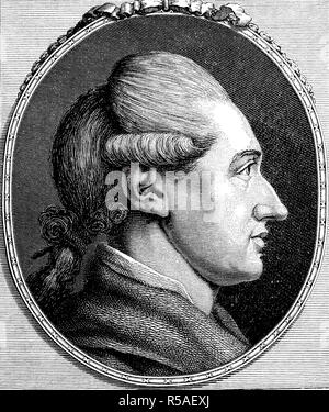 Johann Wolfgang von Goethe, August 28, 1749, March 22, 1832, poet and naturalist, woodcut, Germany - Stock Photo