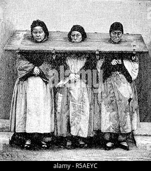 Punishment of female criminals in China by a throatboard, 1870, woodprint, China - Stock Photo