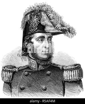 Guglielmo Pepe, 13 February 1783, 8 August 1855, general and patriot, woodcut, Italy - Stock Photo