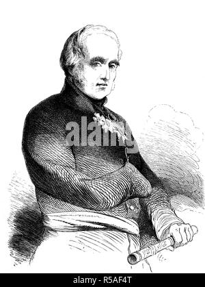 Field Marshal FitzRoy James Henry Somerset, 1st Baron Raglan, 30 September 1788, 28 June 1855, known before 1852 as Lord FitzRoy - Stock Photo