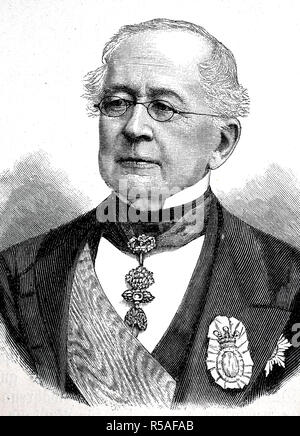 Prince Alexander Mikhailovich Gorchakov, June 4, 1798, March 11, 1883, woodcut, Russia - Stock Photo